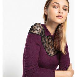 Kardigany damskie: Sweter z koszulowym kołnierzem i wstawkami z koronki