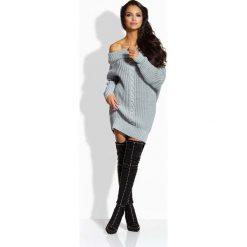 Tuniki damskie z długim rękawem: Jasnoszary Długi Sweter Tunika z Opadającym Kołnierzem