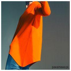 Wąski rękaw bluzka Pomarańczowa. Brązowe bluzki asymetryczne Pakamera, z długim rękawem. Za 159,00 zł.