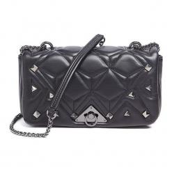 Torebka w kolorze czarnym - (S)24 x (W)14,5 x (G)7 cm. Czarne torebki klasyczne damskie Tosca Blu, w paski, z materiału, z tłoczeniem. W wyprzedaży za 279,95 zł.