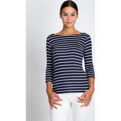 Bluzki asymetryczne: Granatowa bluzka z dekoltem łódka QUIOSQUE