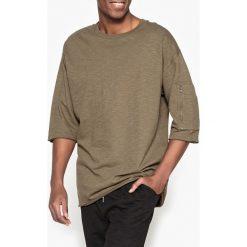 Bluza oversize z okrągłym dekoltem. Brązowe bejsbolówki męskie La Redoute Collections, l, z bawełny, z okrągłym kołnierzem. Za 88,16 zł.