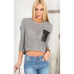 T-shirty damskie: Szary T-shirt Oversize BB20728