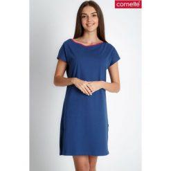 Piżamy damskie: Granatowa prosta piżama koszula nocna QUIOSQUE