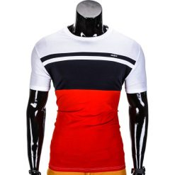 T-SHIRT MĘSKI BEZ NADRUKU S844 - GRANATOWY/CZERWONY. Czerwone t-shirty męskie z nadrukiem Ombre Clothing, m. Za 29,00 zł.