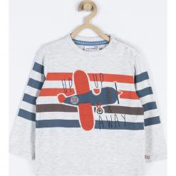 Koszulka. Szare t-shirty chłopięce z długim rękawem FIND YOUR WINGS, z aplikacjami, z bawełny. Za 39,90 zł.