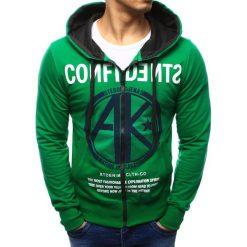 Bluzy męskie: Bluza męska rozpinana z kapturem zielona (bx1041)