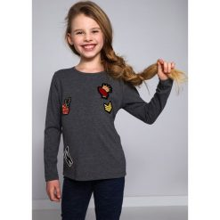 T-shirty dziewczęce: Bluzka z Naszywkami ciemnoszara NDZ8129