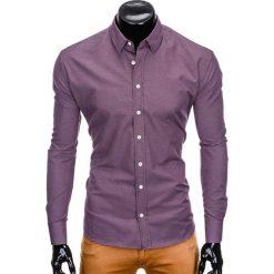 KOSZULA MĘSKA Z DŁUGIM RĘKAWEM K410 - FIOLETOWA. Fioletowe koszule męskie na spinki Ombre Clothing, m, z kontrastowym kołnierzykiem, z długim rękawem. Za 59,00 zł.