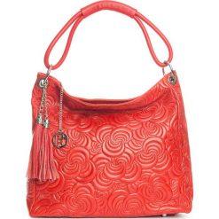 Torebki klasyczne damskie: Skórzana torebka w kolorze czerwonym – 40 x 49 x 14 cm