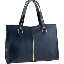 Torebki klasyczne damskie: Skórzana torebka w kolorze granatowym – 36 x 27 x 14 cm