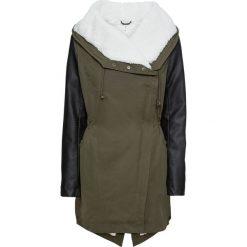 Płaszcz z różnych materiałów bonprix ciemnooliwkowo-czarny. Zielone płaszcze damskie bonprix, z materiału. Za 269,99 zł.