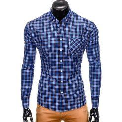 KOSZULA MĘSKA W KRATĘ Z DŁUGIM RĘKAWEM K394 - GRANATOWA. Niebieskie koszule męskie na spinki Ombre Clothing, m, z długim rękawem. Za 69,00 zł.