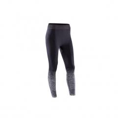 Legginsy do jogi YOGA 7/8 damskie. Czarne legginsy skórzane marki DOMYOS. Za 64,99 zł.