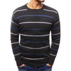 Swetry klasyczne męskie: Sweter męski w paski grafitowy (wx1020)