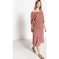 Długie sukienki: Długa rozszerzana sukienka z krótkimi rękawami wykonana z kwiecistego materiału