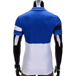 KOSZULKA MĘSKA POLO BEZ NADRUKU S846 - NIEBIESKA. Niebieskie koszulki polo marki Ombre Clothing, m, z nadrukiem. Za 39,00 zł.