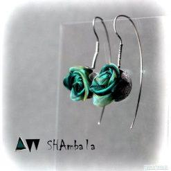 Kolczyki damskie: Srebrne kolczyki zielone pączki kwiaty BANG TAO