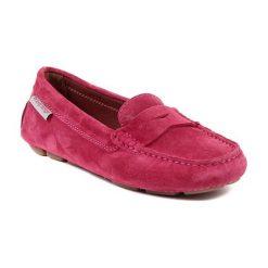 Mokasyny damskie: Skórzane mokasyny w kolorze różowym