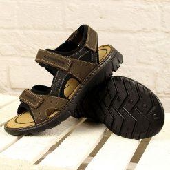 Sandały męskie: Brązowe sandały męskie komfortowe Rieker 26757-25