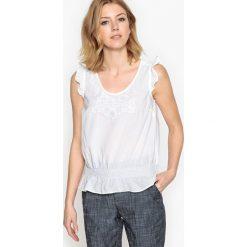 Bluzki asymetryczne: Haftowana bluzka z krótkim rękawem