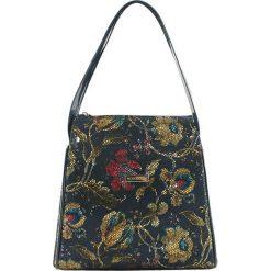 Torebki klasyczne damskie: Skórzana torebka w kolorze niebieskim ze wzorem – (S)23 x (W)25 x (G)13 cm