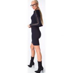 Sukienki: Sukienka z kółkami na rękawach granatowa 6472
