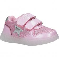 Różowe buty sportowe brokatowe na rzepy ze skórzaną wkładką Casu F-731. Czerwone buciki niemowlęce marki Casu, na rzepy. Za 69,99 zł.