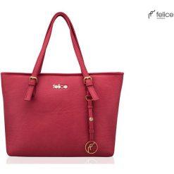 SKÓRZANA SHOPPERKA FELICE GOLD LUNA MALINOWA LILLIAN. Różowe torby na laptopa FeliceGold, w paski, z bawełny. Za 399,00 zł.