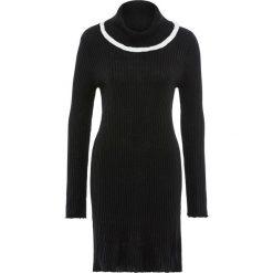 Sukienki balowe: Sukienka dzianinowa z golfem bonprix czarno-biały