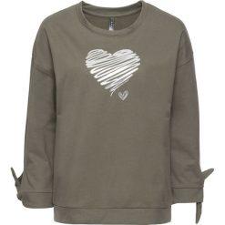 Bluzy damskie: Bluza z połyskującym nadrukiem bonprix zielonoszary melanż – srebrny z nadrukiem
