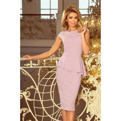 KLAUDIA Elegancka sukienka MIDI z baskinką - LILA. Brązowe sukienki asymetryczne numoco, s, eleganckie, z asymetrycznym kołnierzem, midi. Za 154,90 zł.