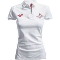 Bluzki damskie: Koszulka polo damska Łotwa Pyeongchang 2018 TSD801 – biały