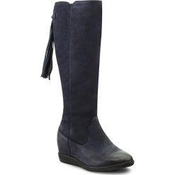 Kozaki SIMEN - 9614 S1680. Niebieskie buty zimowe damskie Simen, z nubiku, przed kolano, na wysokim obcasie. W wyprzedaży za 349,00 zł.