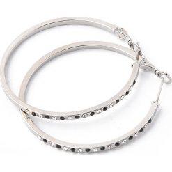 Kolczyki damskie: Pozłacane kolczyki-kreole z kryształkami Swarovski