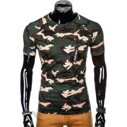 T-SHIRT MĘSKI Z NADRUKIEM S1011 - BRĄZOWY/MORO. Brązowe t-shirty męskie z nadrukiem Ombre Clothing, m, z bawełny. Za 35,00 zł.