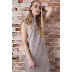 Sukienka z lnu w kolorze beżowym. Brązowe sukienki balowe marki Pakamera, na lato, midi. Za 99,00 zł.