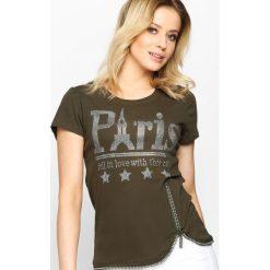 Khaki T-shirt French Zip. Brązowe bluzki z odkrytymi ramionami Born2be, l. Za 49,99 zł.