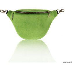 Torebki klasyczne damskie: Velvet Green – nerka z 2 paskami