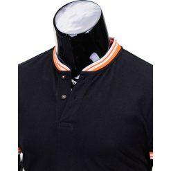 T-SHIRT MĘSKI BEZ NADRUKU S661 - CZARNY. Czarne t-shirty męskie z nadrukiem Ombre Clothing, m, z bawełny, z kontrastowym kołnierzykiem. Za 29,00 zł.