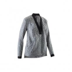 Bluza na zamek do jogi YOGA+ damska. Czarne bluzy rozpinane damskie marki DOMYOS, z elastanu. W wyprzedaży za 69,99 zł.