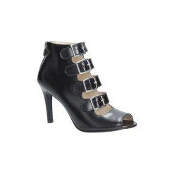 Rzymianki damskie: Sandały Oleksy  Czarne sandały skórzane na szpilce z ozdobnymi klamrami  546/575