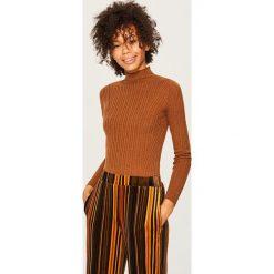 Swetry klasyczne damskie: Sweter z domieszką wełny - Brązowy