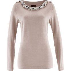Swetry klasyczne damskie: Sweter z aplikacją z perełek bonprix kamienisty