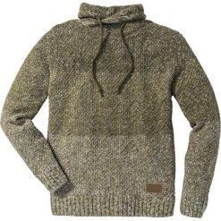 Swetry męskie: Sweter z szalowym kołnierzem Slim Fit bonprix ciemnooliwkowy melanż