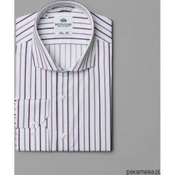 Koszule męskie na spinki: Bawełniana koszula w fioletowe paski