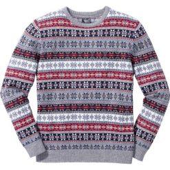 Sweter norweski z okrągłym dekoltem Regular Fit bonprix szary wzorzysty. Szare swetry klasyczne męskie bonprix, l, z okrągłym kołnierzem. Za 109,99 zł.