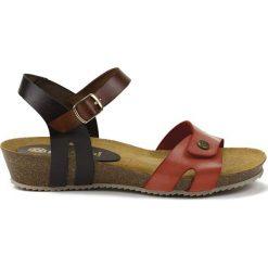 Rzymianki damskie: Skórzane sandały w kolorze czarno-brązowo-czerwonym