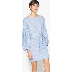 Długie sukienki: Sukienka w paski z bufiastymi rękawami z marszczeniem gumkami