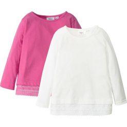 Koszulka z długim rękawem i koronką (2 szt.) bonprix różowy + biel wełny. Czerwone bluzki dziewczęce marki bonprix, w koronkowe wzory, z koronki. Za 43,98 zł.